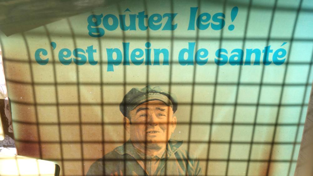 Werbeplakat für Austernzucht bei La Faute-sur-Mer
