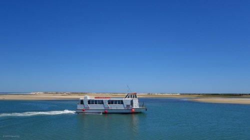 Ausflugsboot in Fuseta auf unserer Radtour