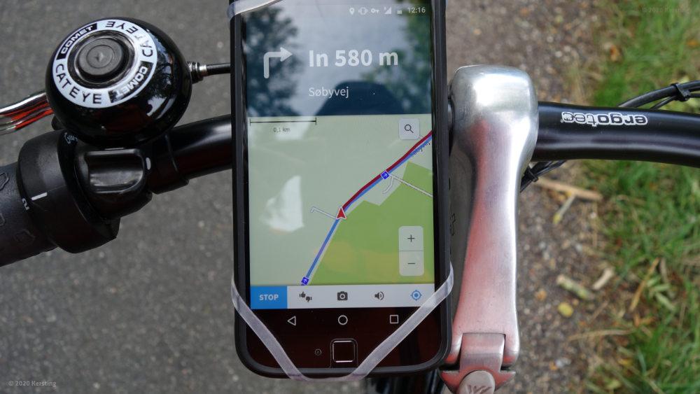 Fahrrad Navigation mit einfachem Gummiband in Dänemark