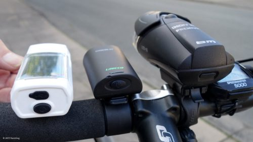 Größenvergleich der Scheinwerfer am Fahrrad