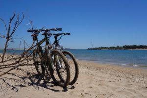Einsamer Strand mit Fahrrädern gegenüber der Ilha de Tavira