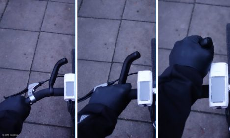 Three different gripping alternatives on the handlebar