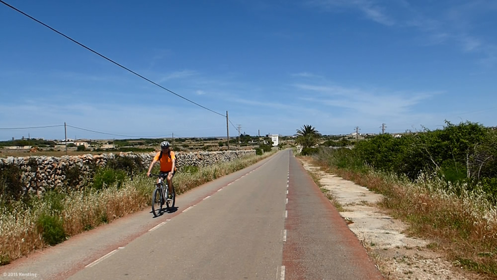 Bicycle path on the way to Menorca's north