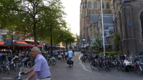 Bike path crossing in the old town of Haarlem