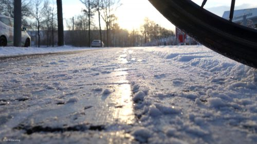 With ice, even a winter tire does not help much