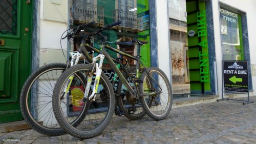 Our rental bikes in front of the shop in Tavira