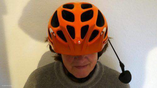 Bicycle helmet with mirror