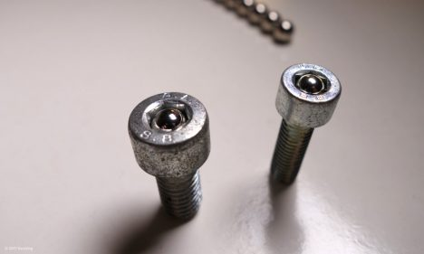 Screws with magnetic inserts secured against theft
