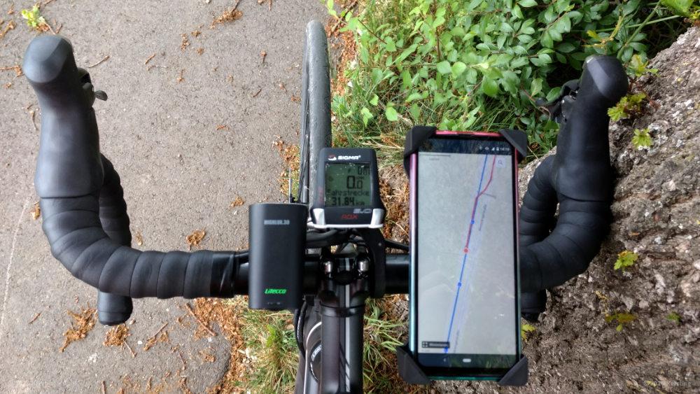 Smartphone GPS Rennradhalterung Test